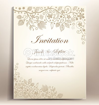 Classical floral hand draw wedding invitation vector art thinkstock classical floral hand draw wedding invitation vector art stopboris Images