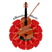 Classical music banner with a cello and roses. Vector illustration desig