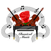 Classical music banner with a piano and cellos. Vector illustration design