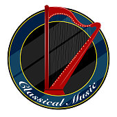 Classical music label with a harp. Vector illustration design