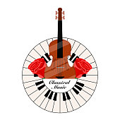 Classical music label with a piano keys and cello. Vector illustration design