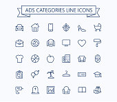 Classified advertisements categories thin line icons set.24x24 Grid. Pixel Perfect.Editable stroke. eps 10