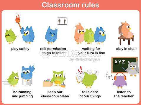 Classroom rules for kids vector art thinkstock for 10 reglas para el salon de clases en ingles