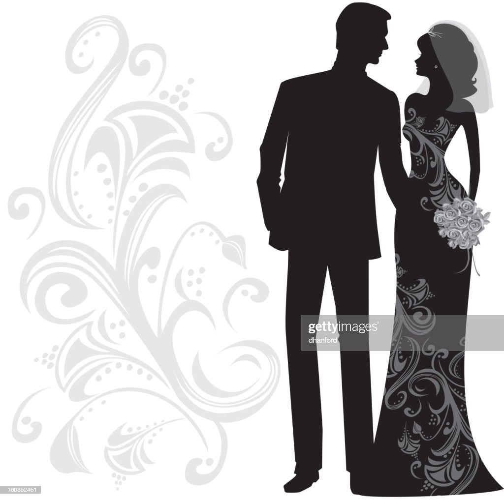 Classy Bride And Groom Silhouette Just Married Vector Art ...