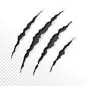 Claws scratches on transparent background. Vector illustration with transparent effect, eps10.