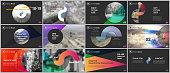 Clean and minimal presentation templates. Colorful elements on a black background. Brochure cover vector design. Presentation slides for flyer, leaflet, brochure, report, marketing, advertising.