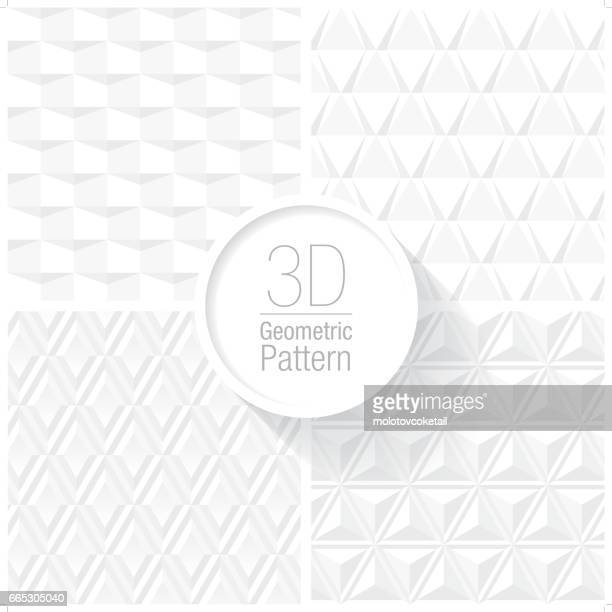 clean and simple white geometric pattern set of 4