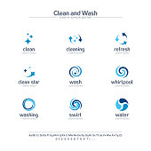 Clean and wash creative symbols set, font concept. Water refresh, laundry service abstract business pictogram. Swirl, shine, sparkle star icon. Corporate identity alphabet, sign company graphic design