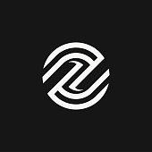 Clean circle linear icon E letter sign vector design.