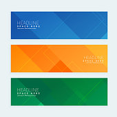 clean geometrical style minimal banners set with three different colors