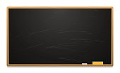 Clean school board with chalk and sponge. Wiped board. Template for banners, ads, advertising. Vector illustration