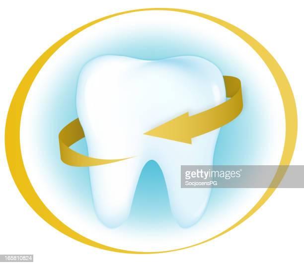 Limpieza dental en círculo dorado brillante