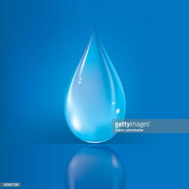 Clean Water Drop With Reflection on royal blue background