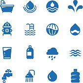 Clean water silhouette vector icons. Aqua pictograms rain and wave, shower and faucet, bathroom and hydrant illustration