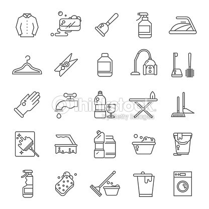 cleaning and washing house laundry outline vector icons antiseptic
