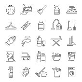 Cleaning and washing house, laundry outline vector icons. Antiseptic service line symbols. Illustration of wash cleaner and brush, vacuum and broom