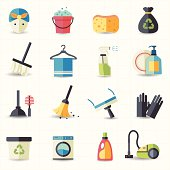 This image is a vector illustration Cleaning icons.