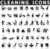 Cleaning icons on a white background with a shadow