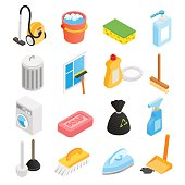 Cleaning isometric 3d icons set for web and mobile devices