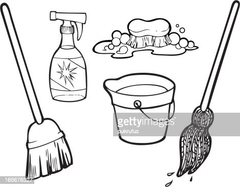 House Cleaning Clip Art Black And White Photo20