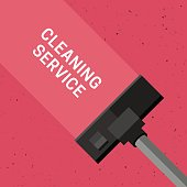 Cleaning service banner with vacuum cleaner. Vector illustration of carpet cleaning with grunge texture.