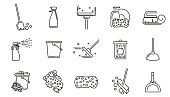 Cleaning service linear icons set. Vector cleaning tools signs or symbol elements. Symbols in thin line style