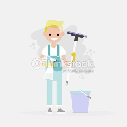 Reinigungsservice Junge Charakter Waschen Ein Fenster Hausarbeit