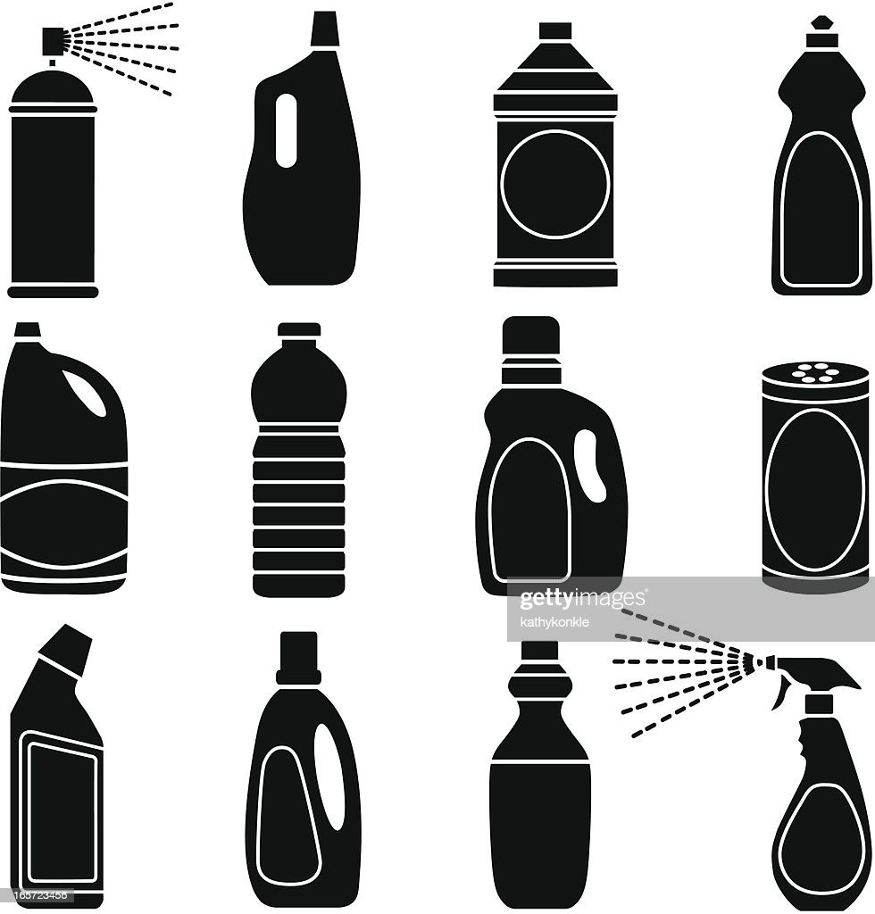 cleaning supplies vector clip bottle liquid illustration aerosol illustrations clipart spray icon graphic plastic automatic filling detergent linear graphics icons