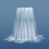 Clear water stream of waterfall isolated on transparent background vector illustration. Waterfall clear flow, illustration of nature cool river waterfall