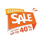 Clearance Sale orange tag 40 percent heading design for banner or poster. Sale and Discounts Concept. Vector illustration.