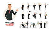 Set of businessman working cartoon character in office work situations. Young clerk man in office clothes. Different poses and emotions, gestures, actions. Illustration front and rear view.