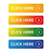 Click Here action button set vector
