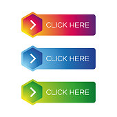 Click here button set vector