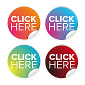 Click here label button vector