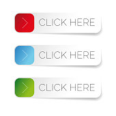 Click here label with arrow set vector