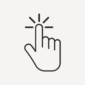 Click icon. Hand icon. isolated on background. Vector illustration. Eps 10.