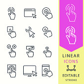 Click - line vector icon set. Editable stroke. Pointer, cursor, press, finger, ets.