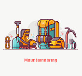 Climbing and mountain hiking lifestyle with professional mountaineering equipment. Summer alpinist expedition and adventure essentials. Climb and hike concept banner in flat design.