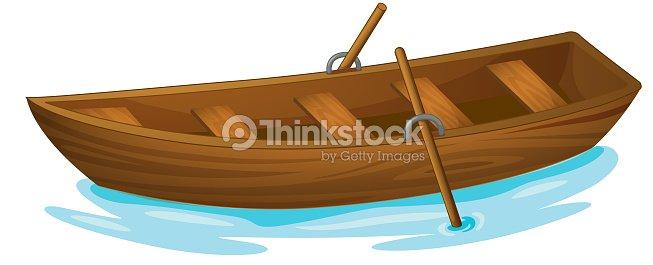 A Clip Art Image Of A Wooden Boat At Sea Vector Art ...