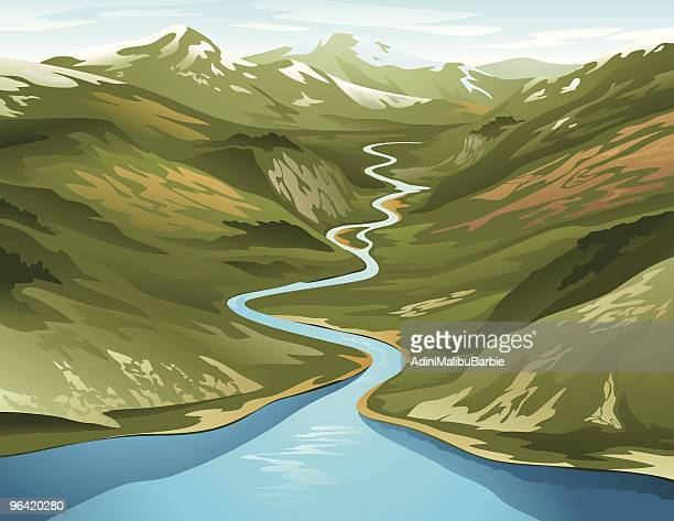 A clip art of a river circling its way around a mountain