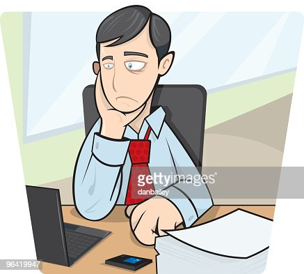 Schreibtisch clipart  Businessman Sitting At Desk Vector Art | Getty Images
