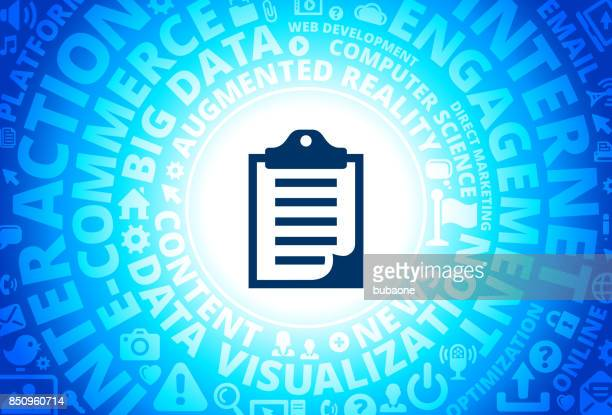 Clipboard Icon on Internet Modern Technology Words Background