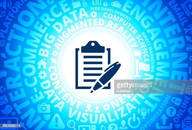 Clipboard & Pen Icon on Internet Modern Technology Words Background