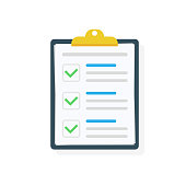 Clipboard with checklist icon. Checklist complete tasks, to-do list, survey, exam concepts. Best quality. Flat illustration of clipboard with checklist icon for web. Vector