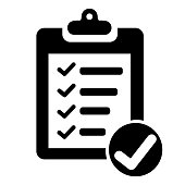 Clipboard with checklist icon. Paper clipboard document symbol.