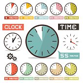 Clock - Hours Vector Set in Flat Design Style Isolated on White Background