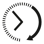 Clock icon. Black and white clock arrows. Sign of the rapid passage of time. Vector illustration.