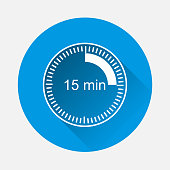 Clock icon indicating the time interval of 15 minutes on blue background. Flat image fifteen minutes time on the clockwith long shadow. Layers grouped for easy editing illustration. For your design.