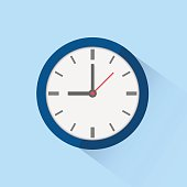 Clock icon isolated on background. Vector illustration. Eps 10.