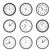 different types of clocks isolated on white background